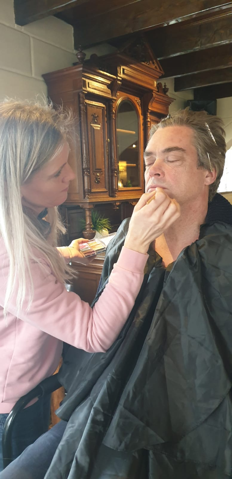 Special Make up Artist Carola Brockhoff creating old age on Ernst ter Linden for Bavaria commercial